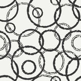 Hand drawn seamless pattern with black grunge rings, circle. Wrapping paper.  Stock Photo