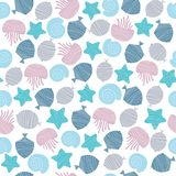Hand drawn seamless pattern in blue colour vector illustration