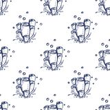 Hand drawn seamless pattern with blue corals stock illustration