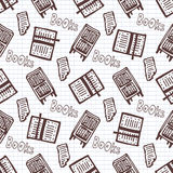 Hand drawn seamless pattern with books and bookcase. School library background. Stock Photography