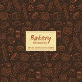 Hand drawn bakery products seamless pattern. Hand drawn seamless pattern of bread and bakery products. Baked goods background. Vector illustration Stock Image