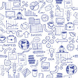 Hand drawn seamless pattern with business symbols Stock Images