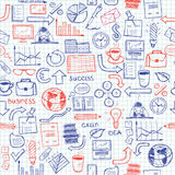 Hand drawn seamless pattern with business symbols Stock Image