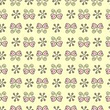 Hand drawn seamless pattern. With butterflies and snowflackes stock illustration
