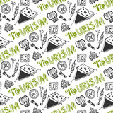 Hand drawn seamless pattern with camping holiday elements. Summer vacation background. Tourism Stock Photos