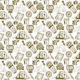 Hand drawn seamless pattern with camping objects. Summer vacation background. Camping holiday  illustration. Stock Images