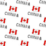 Hand drawn seamless pattern with Canada flag and doodle lettering. Canadian background with national flag for design Royalty Free Stock Image