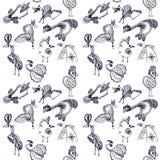 Hand drawn seamless pattern with cartoon birds Royalty Free Stock Photo