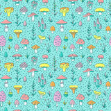 Hand drawn seamless pattern with cartoon mushroom and toadstools. Vector illustration. Stock Image