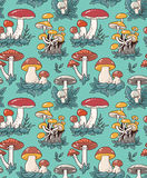 Hand drawn seamless pattern with cartoon mushroom and toadstools. Vector illustration for fabric or wrap paper design. Royalty Free Stock Photo