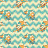 Hand drawn seamless pattern with chameleons in Royalty Free Stock Image