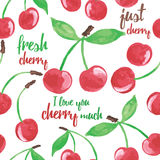 Hand drawn seamless  pattern with cherries and inspiration words. Summer juicy berry background. Stock Images