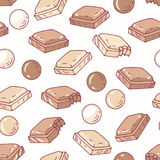 Hand drawn seamless pattern with chocolate. Background for cafe, kitchen or food package stock illustration