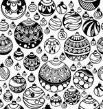 Hand drawn seamless pattern of Christmas balls on the white background. Hand drawn Christmas balls seamless pattern on the white background. Christmas and New Stock Photos