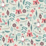 Hand Drawn Seamless Pattern with Christmas Elements. Christmas Seamless Pattern with Christmas Balls and Mistletoe stock illustration