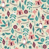 Christmas Seamless Pattern with Christmas Balls and Mistletoe. Hand Drawn Seamless Pattern with Christmas Elements royalty free illustration
