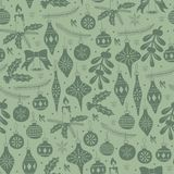 Hand Drawn Seamless Pattern with Christmas Elements. Christmas Seamless Pattern with Christmas Balls and Mistletoe. Xmas Hand Drawn elements stock illustration