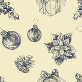 Hand drawn seamless pattern with Christmas elements. Xmas and winter holidays stock illustration