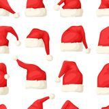 Hand drawn seamless pattern with Christmas hats on white background.  Royalty Free Stock Photo