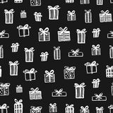 Hand drawn seamless pattern. Christmas presents Stock Photos