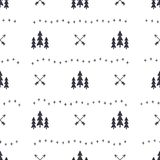 Hand drawn seamless pattern with Christmas tree, arrows design elements. Xmas wallpaper. Holiday background patter. Design isolated on white Stock Image