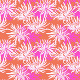 Hand drawn seamless pattern with chrysanthemum Stock Image
