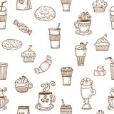 Hand drawn seamless pattern with coffee cups, coffee beans, cook Stock Photo