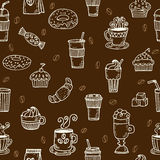 Hand drawn seamless pattern with coffee cups, cookies, coffee be Royalty Free Stock Photo