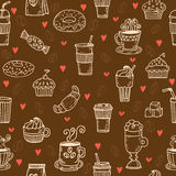 Hand drawn seamless pattern with coffee cups, donuts, coffee bea Stock Photography
