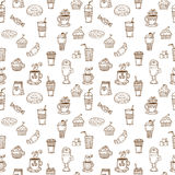 Hand drawn seamless pattern with coffee cups, donuts, coffee bea Royalty Free Stock Photo