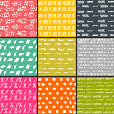 Hand Drawn seamless pattern collection. Simple texture for background Royalty Free Stock Images