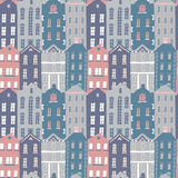 Hand drawn seamless pattern with colorful houses Royalty Free Stock Photo