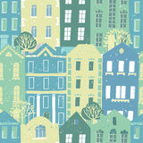 Hand drawn seamless pattern with colorful houses Royalty Free Stock Photography