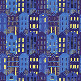 Hand drawn seamless pattern with colorful houses Stock Photo
