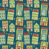 Hand drawn seamless pattern with colorful houses Stock Image