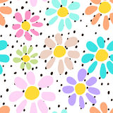 Hand drawn seamless pattern with colorful unusual flowers on polka dots background. Perfectly look on fabric, textile, etc.  Royalty Free Stock Image