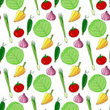 Hand drawn seamless pattern with colorful vegetables. Vector illustration. Vegetable for salad stylized background. Royalty Free Stock Images