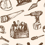 Hand drawn seamless pattern Construction tools. Stock Image