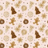 Hand drawn seamless pattern with cookie. Cute gingerbread repeating wallpaper. Vector design for Christmas season royalty free illustration