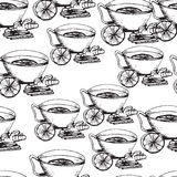 Hand drawn  seamless pattern. Cup of tea. With ginger and lime. Monochrome illustration Stock Photos