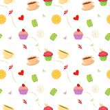Hand drawn seamless pattern with cupcakes. Colorful vector seamless pattern with hand drawn cupcakes, macaroons, candies and tea cups. Unique and elegant Royalty Free Stock Images