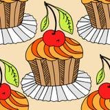 Hand drawn seamless pattern cupcakes. Stock Photos