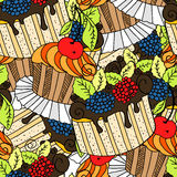 Hand drawn seamless pattern cupcakes. Royalty Free Stock Photography