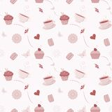 Hand drawn seamless pattern with cupcakes Stock Photo