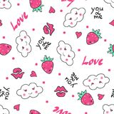 Hand drawn seamless pattern with cute clouds, strawberry and hearts. Stock Photography