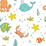 Hand drawn seamless pattern with cute crabs and fish. Hand drawn seamless pattern with cute crabs and fish Stock Photo