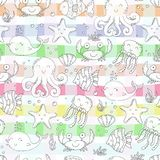 Hand drawn seamless pattern with cute crabs and fish. Hand drawn seamless pattern with cute crabs and fish Royalty Free Stock Image