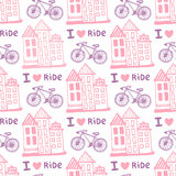 Hand drawn seamless pattern with cute houses and bicycle in pink colors. Illustration background in vector. Used for wallpaper, wr Stock Images