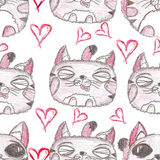 Hand drawn seamless pattern. Cute kittens. Hand drawn seamless pattern. Illustration of color pencils. Cute kittens. Red hearts Royalty Free Stock Photo