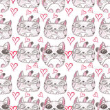 Hand drawn seamless pattern. Cute kittens. Hand drawn seamless pattern. Illustration of color pencils. Cute kittens. Red hearts Stock Images